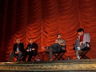 (left to right) Steve Prokopy, Erik Childress, director Collin Schiffli and actor David Dastmalchian