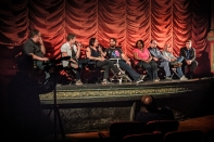 """Steve Prokopy (far left) and Erik Childress (far right) with the cast and crew of """"Operator"""""""